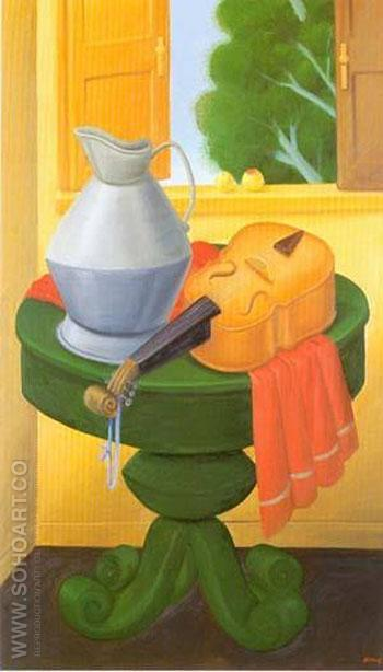Still Life with Violin 1965 - Fernando Botero reproduction oil painting