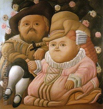 Rubens and his Wife 1965 - Fernando Botero reproduction oil painting