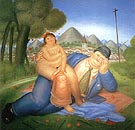 Loving Couple 1973 - Fernando Botero reproduction oil painting