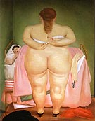Woman Putting on her Brassiere 1976 - Fernando Botero reproduction oil painting