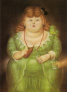 Woman with Porrot 1973 - Fernando Botero reproduction oil painting
