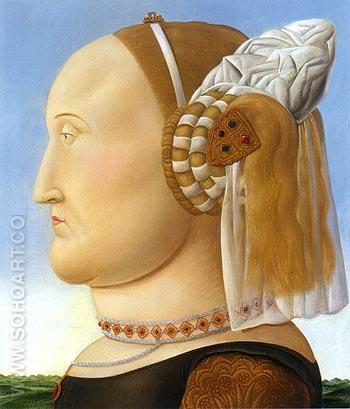 Battista Sforza after Piero della Francesca 1998 - Fernando Botero reproduction oil painting