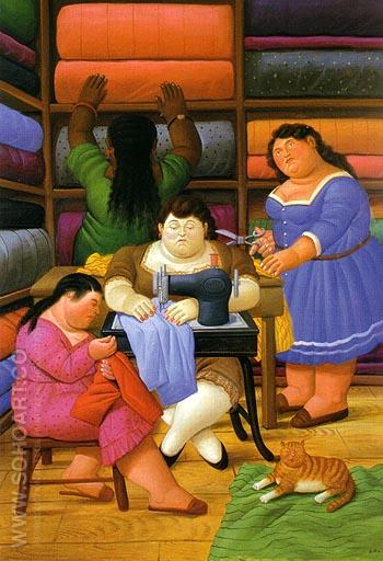 The Seamstresses 2000 - Fernando Botero reproduction oil painting