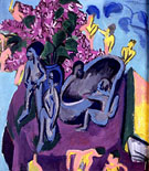 Still-life with Flowers and Sculptures, 1912 - Ernst Kirchner reproduction oil painting