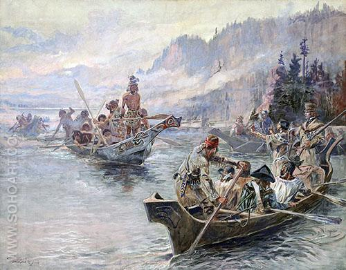 Lewis and Clark on the Lower Columbia 1905 - Charles M Russell reproduction oil painting