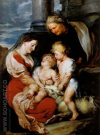 Madonna and Child with St Elizabeth and St john 1614 - Ruebens reproduction oil painting