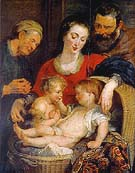 The Holy Family with St Elizabeth Madonna of the Masket 1614 - Ruebens reproduction oil painting
