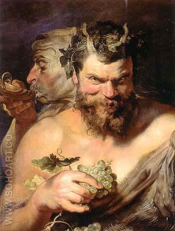 Two Satyrs 1618 - Ruebens reproduction oil painting