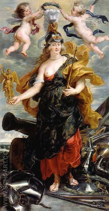 Marie de Medici as Bellona 1622 - Ruebens reproduction oil painting