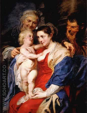 The Holy Family with St Anne 1630 - Peter Paul Rubens reproduction oil painting