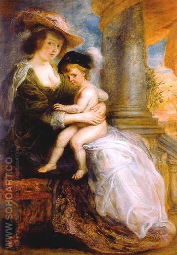 Helena Fourment with her Eldest Son Frans 1635 - Peter Paul Rubens reproduction oil painting
