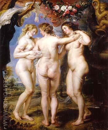 The three Graces - Ruebens reproduction oil painting