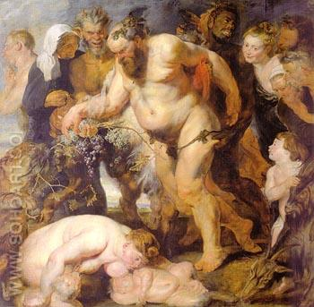 Drunken Bacchus and Satyrs 1616 - Peter Paul Rubens reproduction oil painting