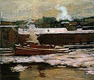 Pushing Through the Ice 1906 - Alson Skinner Clark reproduction oil painting