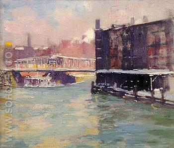 State Street Bridge Along the Chicago River 1906 - Alson Skinner Clark reproduction oil painting