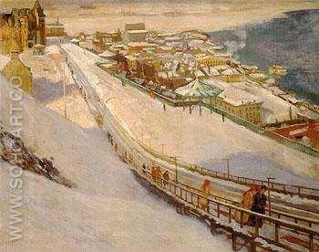 Toboggan Slide and Dufferin Terrace 1906 - Alson Skinner Clark reproduction oil painting