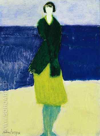 Walker by the Sea 1961 - Milton Avery reproduction oil painting