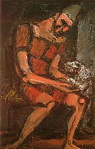 Old Clown with White Dog 1925 - George Rouault reproduction oil painting