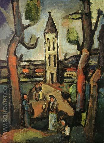 Landscape with Large Trees 1915 - George Rouault reproduction oil painting