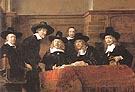 The Syndics The sampling Officials of the Amster dam Drapers Guild 1663 - Rembrandt Van Rijn reproduction oil painting