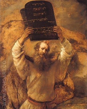 Moses Breaking the Tablets of the law 1659 - Rembrandt Van Rijn reproduction oil painting
