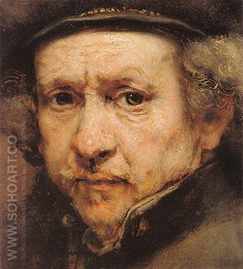 Detail Self Portrait 1659 - Rembrandt Van Rijn reproduction oil painting