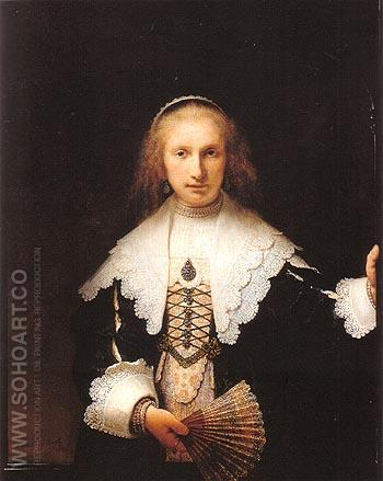 Portrait of Agatha bas 1641 - Rembrandt Van Rijn reproduction oil painting