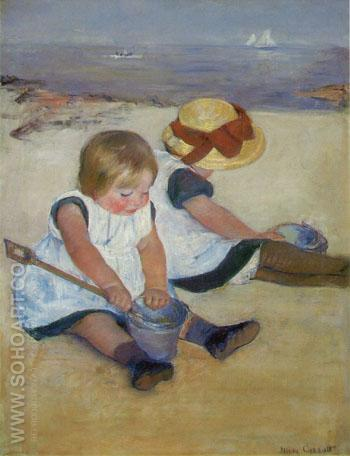 Children on the Beach 1884 - Mary Cassatt reproduction oil painting