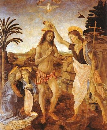 The Baptism of Christ - Leonardo da Vinci reproduction oil painting