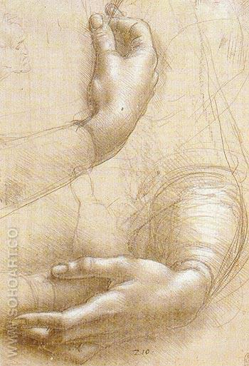 Study of Arms and Hands 1474 - Leonardo da Vinci reproduction oil painting