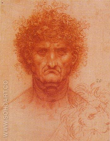 Head of Man and of a Lion - Leonardo da Vinci reproduction oil painting
