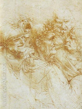 Five Grotesque Heads - Leonardo da Vinci reproduction oil painting