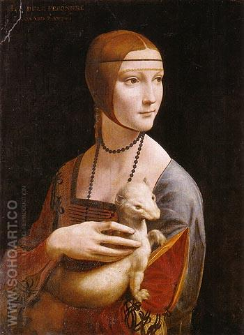 Portrait of Cecilia Gallerani Lady with an Ermine - Leonardo da Vinci reproduction oil painting