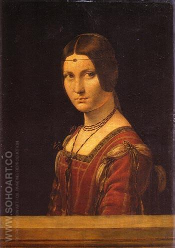 Portrait of an Unknown Woman La Belle Ferroniere - Leonardo da Vinci reproduction oil painting