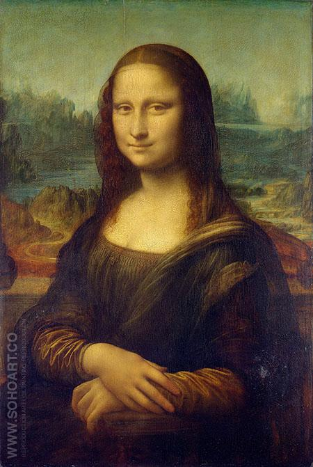 Mona Lisa Portrait of Lisa Gherardini wife of Francesco del Giocondo - Leonardo da Vinci reproduction oil painting