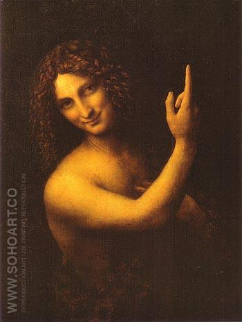 St John the Baptist - Leonardo da Vinci reproduction oil painting