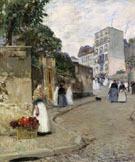 Rue Montmartre Paris - Childe Hassam reproduction oil painting