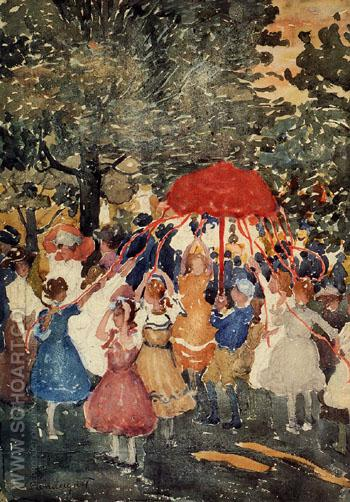 Maypole - Maurice Prendergast reproduction oil painting