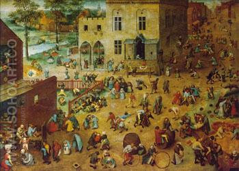 Children's Games 1560 - Bruegel Pieter reproduction oil painting