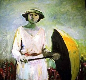 Woman with Orange Umbrella 1958 - Elmer Bischoff reproduction oil painting