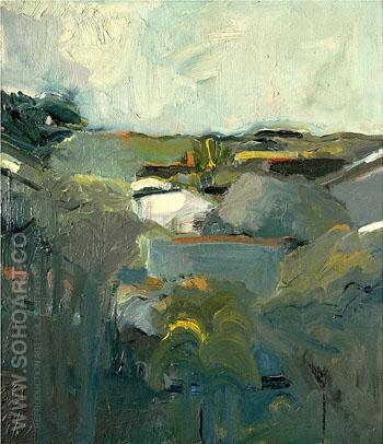 Houses and Hills 1957 - Elmer Bischoff reproduction oil painting
