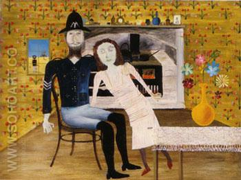 Constable Fitzpatrick and Kate Kelly 1946 - Sidney Nolan reproduction oil painting