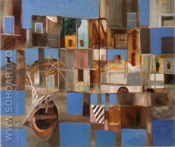 Boats and facades ltaly c 1950 - Sidney Nolan reproduction oil painting