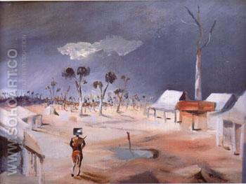 Jerilderie backcloth for Act l of Ned Kelly by Douglas Stewart performed in Sydney 1956 - Sidney Nolan reproduction oil painting