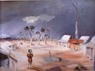 Jerilderie backcloth for Act l of Ned Kelly by Douglas Stewart performed in Sydney 1956 - Sidney Nolan