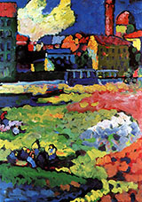 Munich Schwabing with Church of St Ursula 1908 - Wassily Kandinsky reproduction oil painting