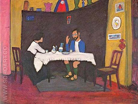 Kandinsky and Erma Bossi at the Table 1912 - Wassily Kandinsky reproduction oil painting