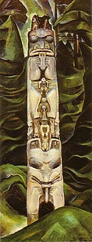 Totem and Forest 1931 - Emily Carr reproduction oil painting