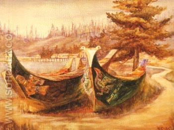 War Canoes 1908 - Emily Carr reproduction oil painting