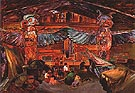 Indian House Interior With Totems 1912 - Emily Carr reproduction oil painting